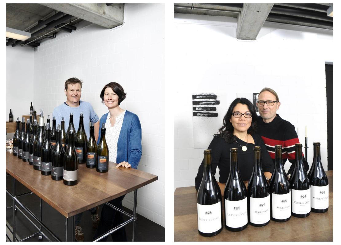 Steiner, Krebs und Gromann mit ihren besten Pinot Noir Weinen bei der Degustation mit Gault Millau