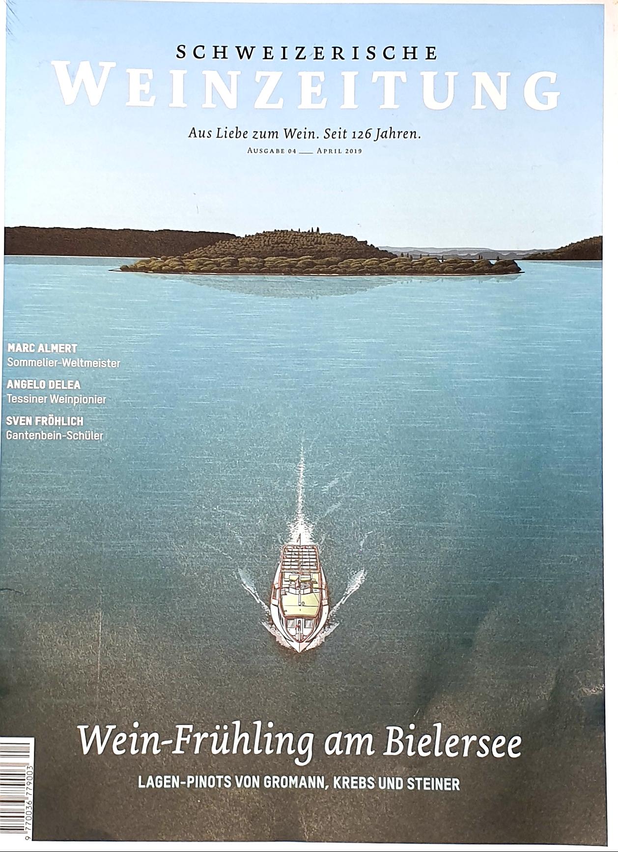 Titelseite Schweizerische Weinzeitung. Wein-Frühling am Bielersee. Lagen-Pinots von Gromann, Krebs und Steiner
