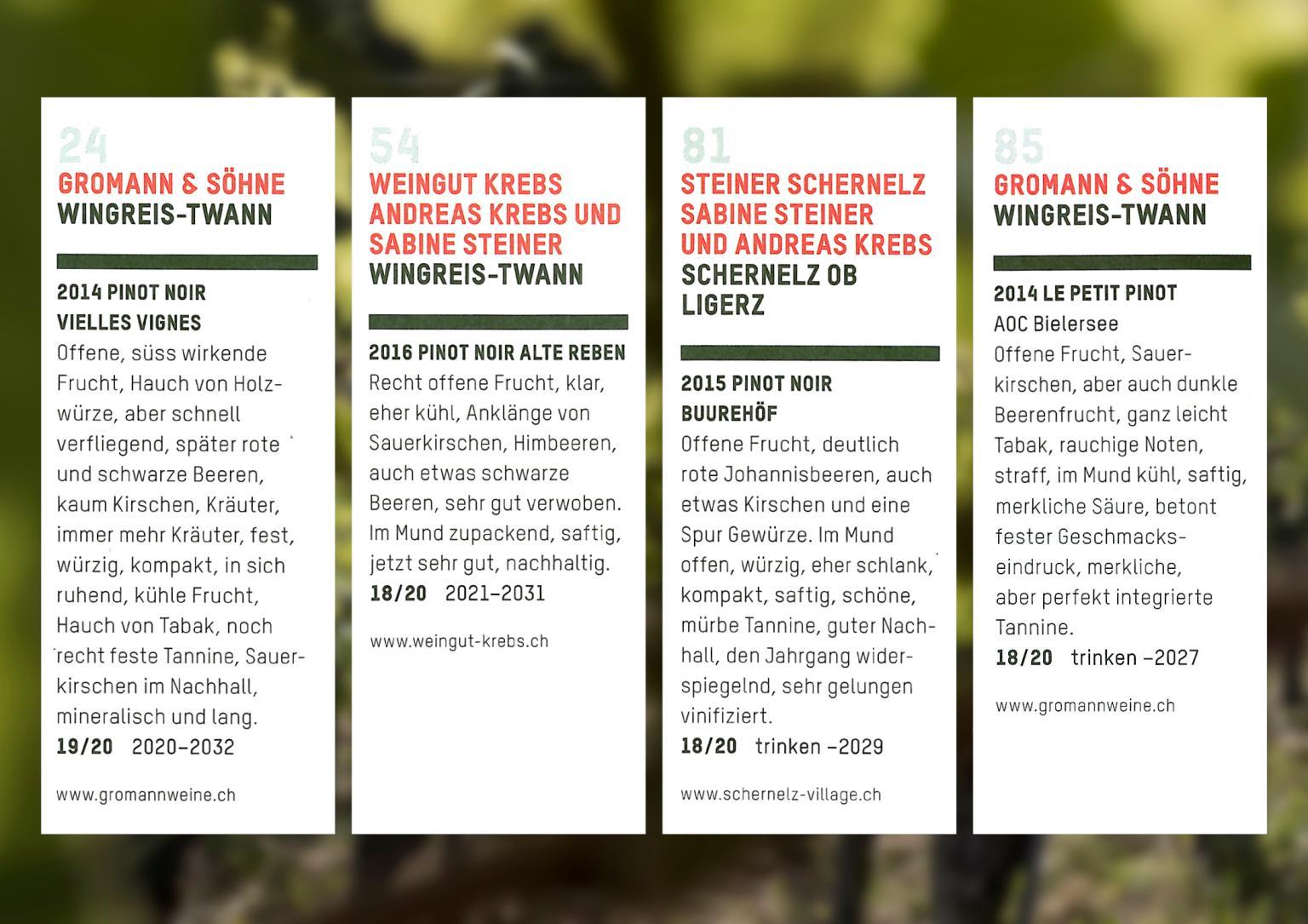 Platzierungen der Weine von Steiner, Krebs und Gromann bei den 100 schönsten Weinen 2019 aus der schweizerischen Weinzeitung.